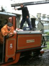 Ian filling up Festiniog Railway Double Fairlie, David Lloyd George, with water